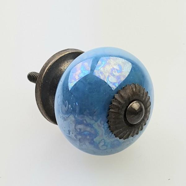 Möbelknöpfe Möbelgriffe Möbelknopf Keramik Shabby 130GN-A blau metalic