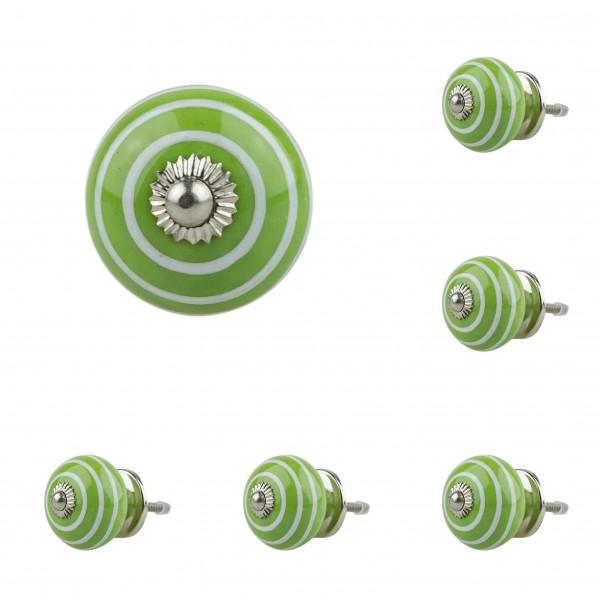 6x 1051 008GN grün Möbelknopf Möbelknauf Möbelgriff Keramik