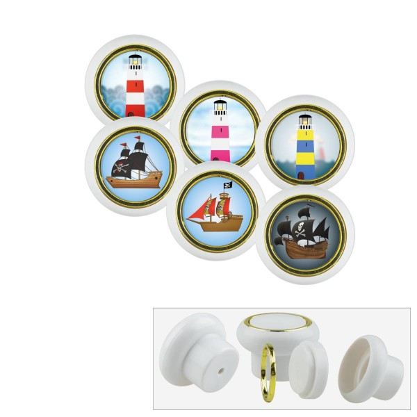 Kunststoff Möbelknopf Set 013WP Leuchtturm Pirat 6er