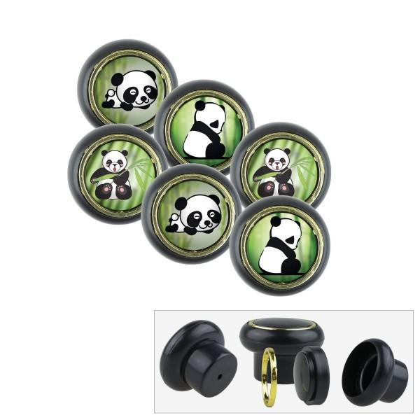 Kunststoff Möbelknopf Set 018SP Panda Bär 6er