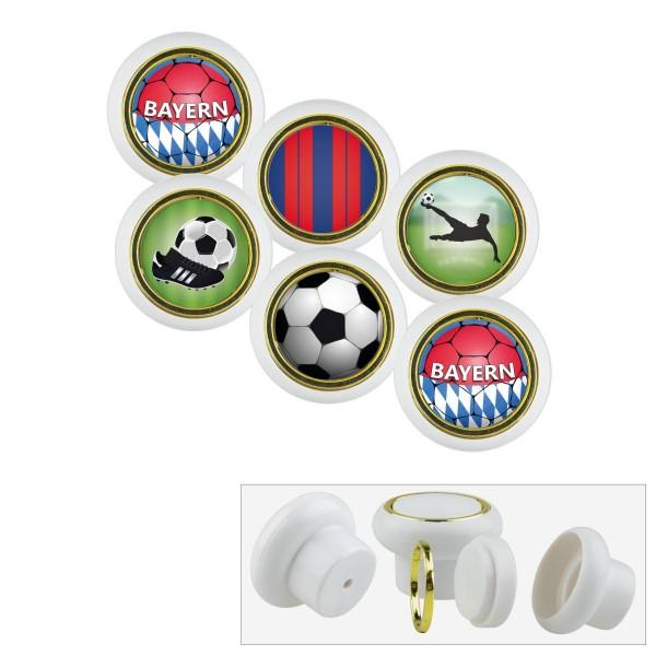 Kunststoff Möbelknopf Set 019WP Fußball Bundesliga Bayern 6er