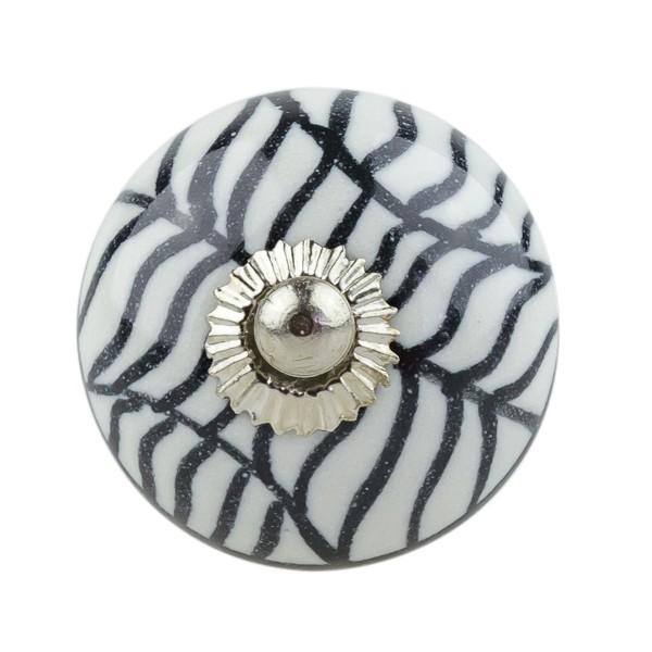 Möbelknopf Vintage Keramik Porzellan 056GN Schwarz weiss 12005