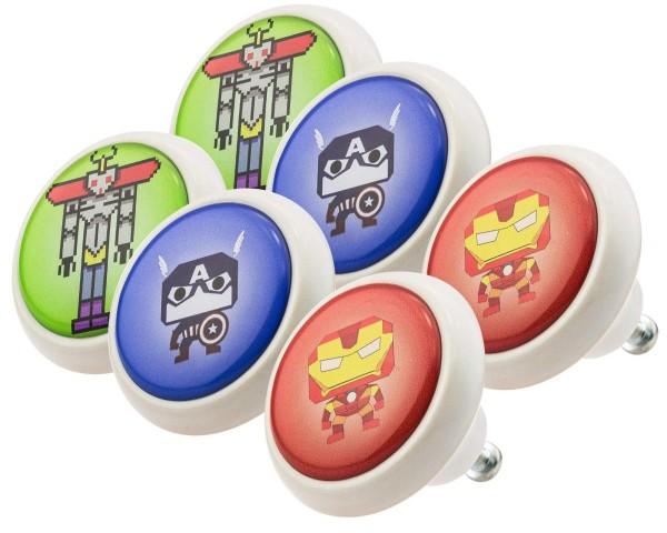 Möbelknopf Set 0028 Kinder Super Helden 6er Kinderzimmer KNOPF KUNST