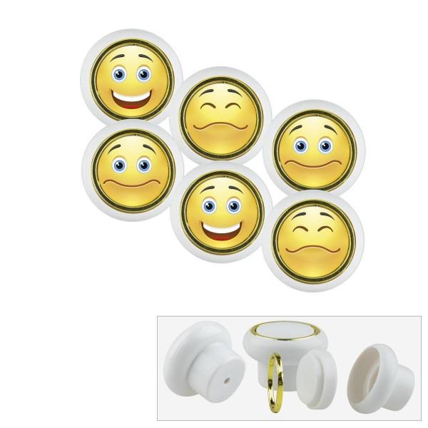 Kunststoff Möbelknopf Set 028WP Smiley 6er