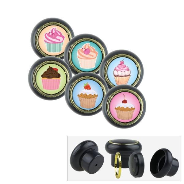 Kunststoff Möbelknopf Set 011SP Cup Cake Küche 6er