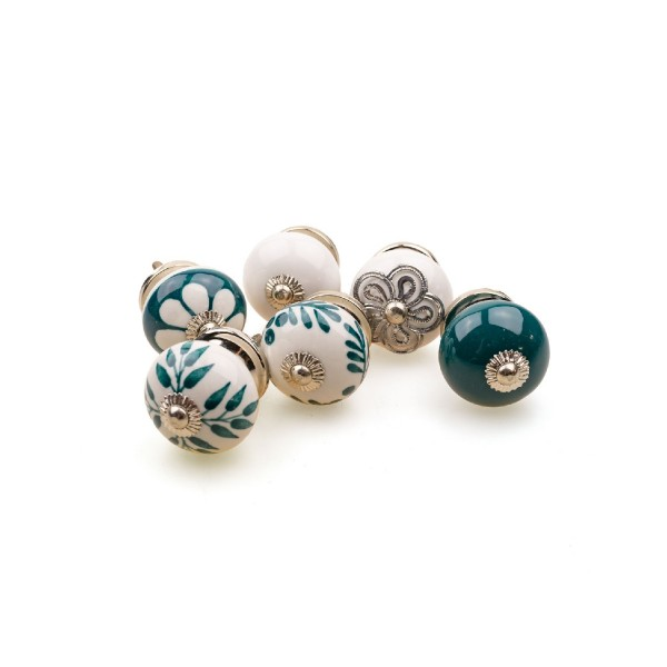 Jay Knopf 6er Möbelknopf Set 067GN Muster Blume Weiß Grün