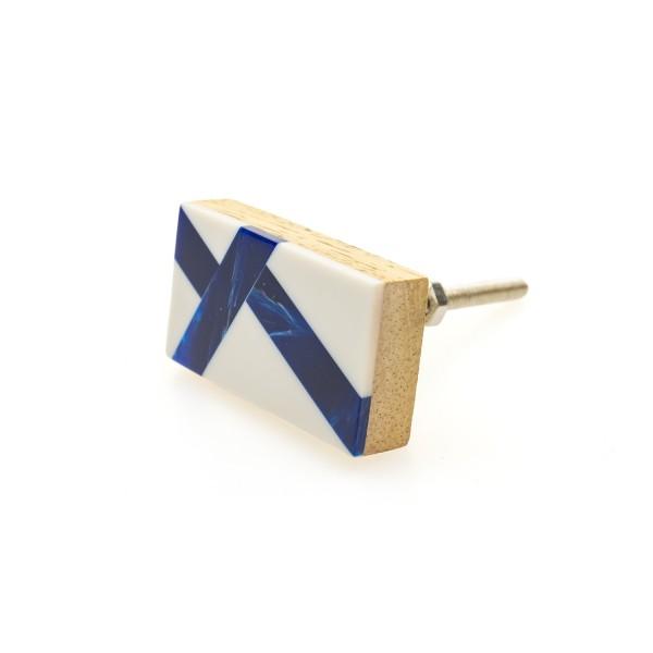Möbelknöpfe Möbelknopf weiss blau Holz Resin Harz Modern Möbelknöpfe Kommode No. 133GN