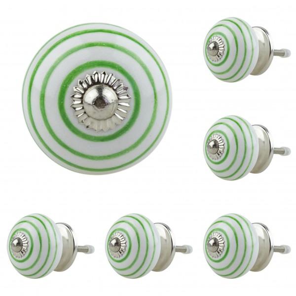 6x 1067 010GN grün Möbelknopf Möbelknauf Möbelgriff Keramik