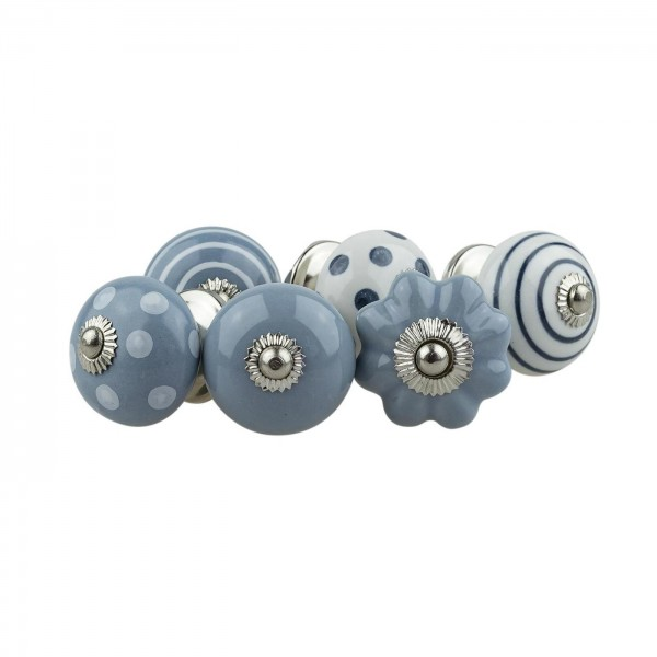 Jay Knopf 6er Möbelknopf Set 074GN Punkte Kreise Kürbis Blume Weiß Grau Blau - Vintage Möbelknauf