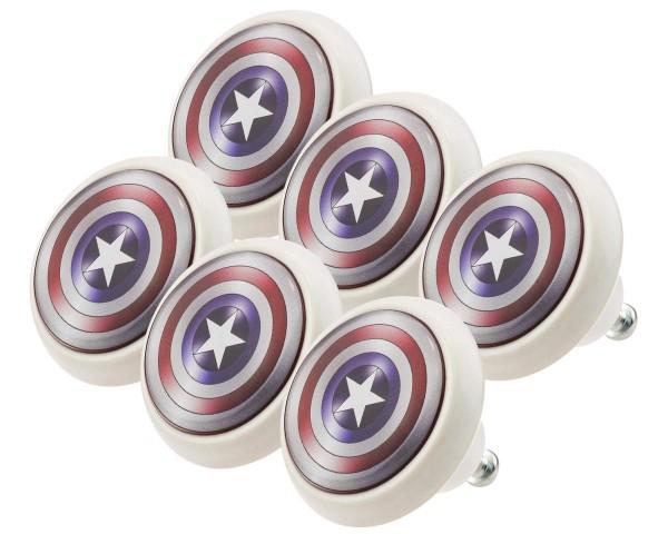 Möbelknopf Set 0020 Kinder Captain America 6er Kinderzimmer KNOPF KUNST