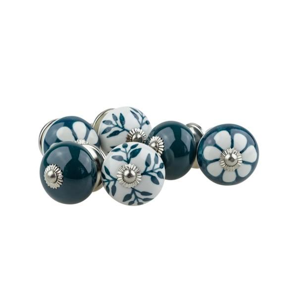 Jay Knopf 6er Möbelknopf Set 066GN Muster Blume Weiß Grün