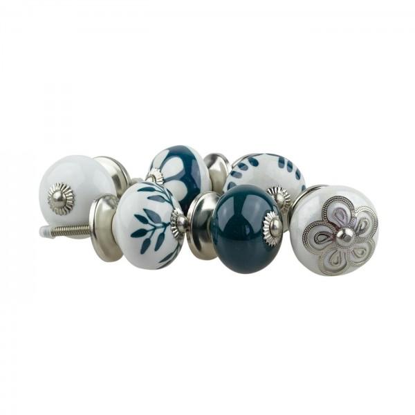 Jay Knopf 6er Möbelknopf Set 067GN Muster Blume Weiß Grün - Vintage Möbelknauf