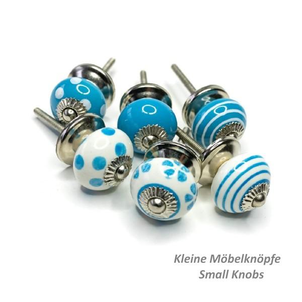 Jay Knopf 6er Möbelknopf Set Klein 082GN SM Punkte Kreise Tupfer Weiß Blau