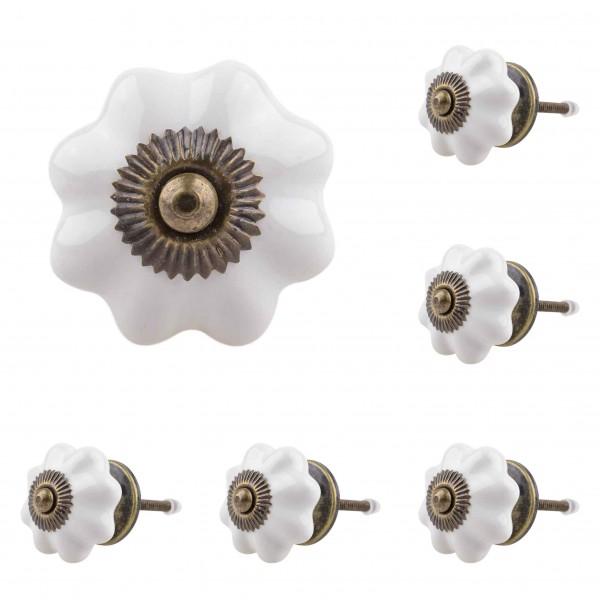 Jay Knopf 6er Möbelknopf Set 050GN Antik Pumpkin Kürbis Blume Weiß - Vintage Möbelknauf