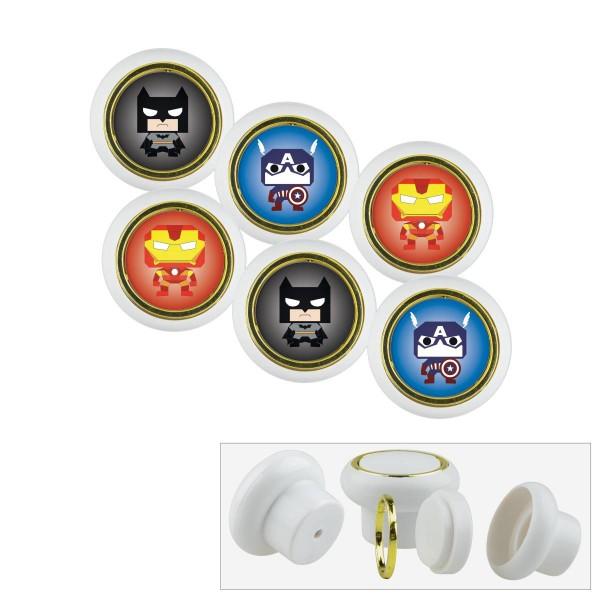 Kunststoff Möbelknopf Set 010WP Super Helden Fledermaus Batman 6er