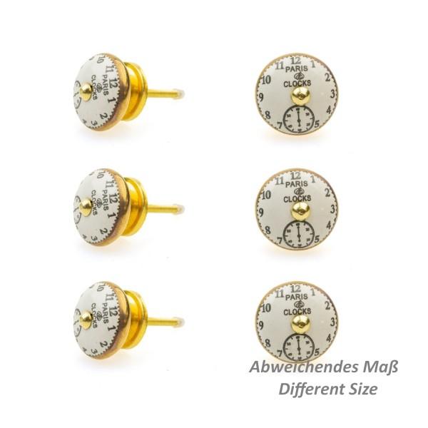 Jay Knopf 6er Möbelknopf Set 113GN Schwarz Vintage Uhren Gold Nostalgie