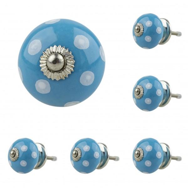 6x 1006 034GN blau Möbelknopf Möbelknauf Möbelgriff Keramik
