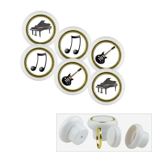 Kunststoff Möbelknopf Set 027WP Musik Instrument 6er