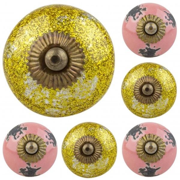 Jay Knopf 6er Set Möbelknopf Möbelknauf Möbelgriffe Nr. 294 shabby gold rosa Mischung
