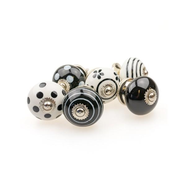 Jay Knopf 6er Möbelknopf Set 086GN Schwarz Kreise Punkte Tupfer