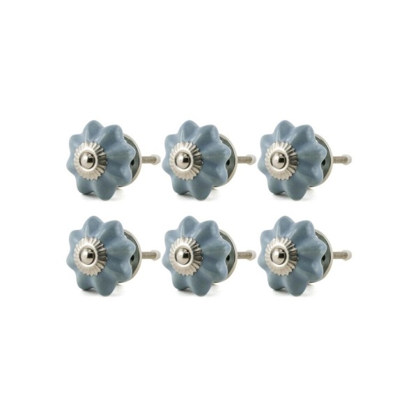 Jay Knopf 6er Möbelknopf Set 052GN Pumpkin Kürbis Blume Grau Blau