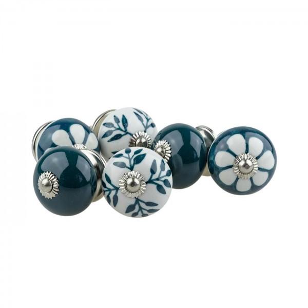 Jay Knopf 6er Möbelknopf Set 066GN Muster Blume Weiß Grün - Vintage Möbelknauf