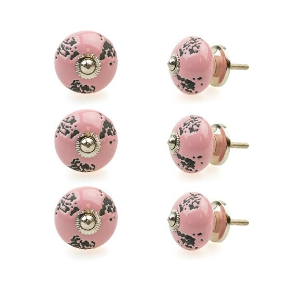 Jay Knopf 6er Möbelknopf Set 121GN Rosa Pink Perforiert