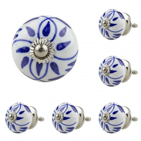 6x 5004 060GN blau Möbelknopf Möbelknauf Möbelgriff Keramik