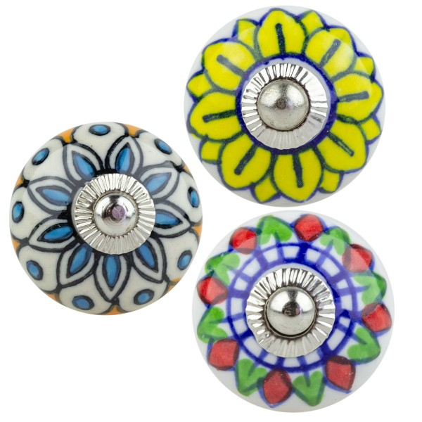 Jay Knopf 3er Set Möbelknopf Möbelknauf 3331 Mandala Blumen