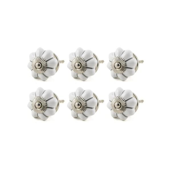 Jay Knopf 6er Möbelknopf Set 053GN Silber Streifen Pumpkin Kürbis Blume Weiß