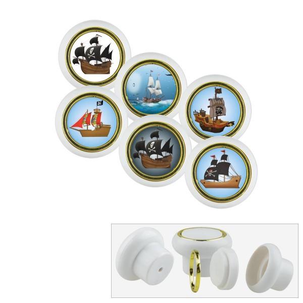 Kunststoff Möbelknopf Set 007WP Piratenschiff 6er