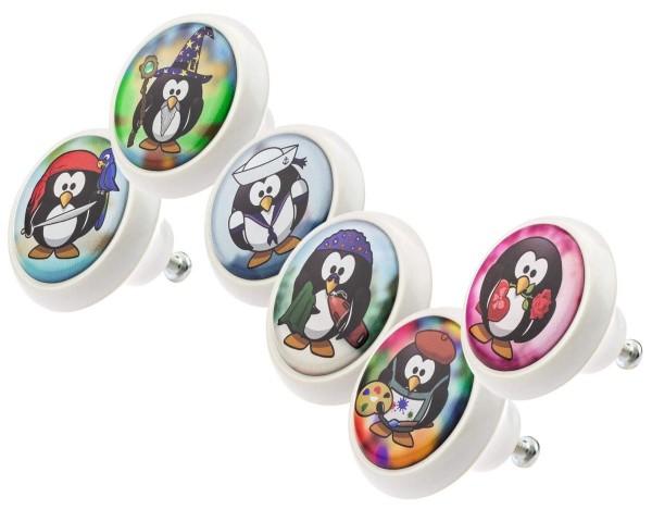 Möbelknopf Set 0025 Kinder Pinguine 6er Kinderzimmer KNOPF KUNST