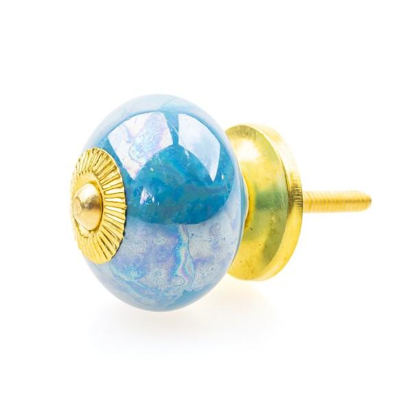 Möbelknöpfe Möbelgriffe Möbelknopf Keramik Shabby 130GN-M blau metalic