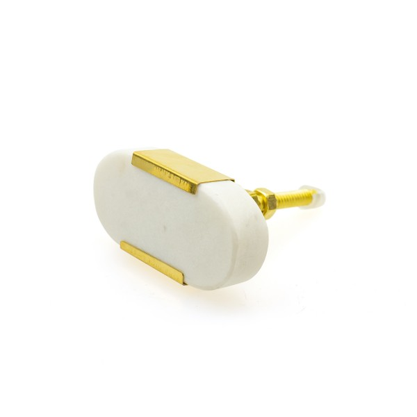 Möbelknopf weiss Marmor Messing Modern Möbelknöpfe Möbelgriffe No. 131GN