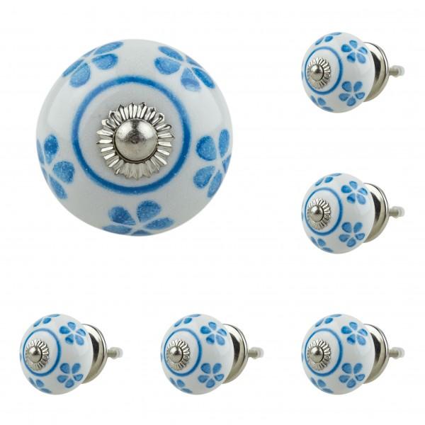 6x 5001-LB 039GN blau Möbelknopf Möbelknauf Möbelgriff Keramik