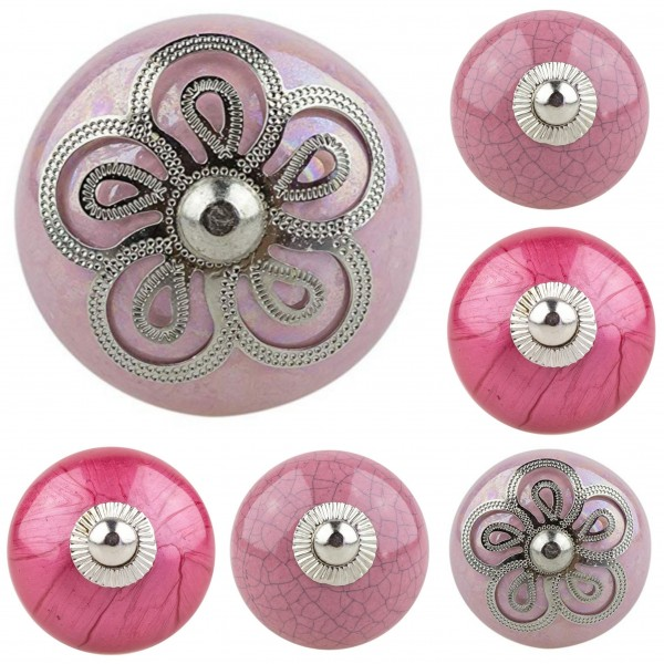 Jay Knopf 6er Set Möbelknopf Möbelknauf Möbelgriffe Nr.312 shabby rosa pink Mischung