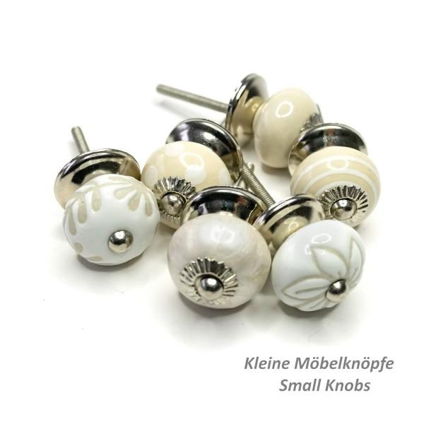 Jay Knopf 6er Möbelknopf Set Klein 073GN SM 72-E Perforiert Kreise Punkte Weiß Creme Beige