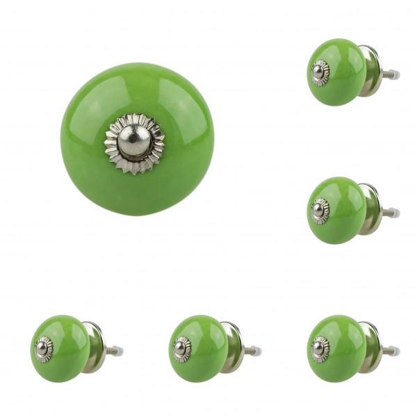 6x 4010 011GN grün Möbelknopf Möbelknauf Möbelgriff Keramik
