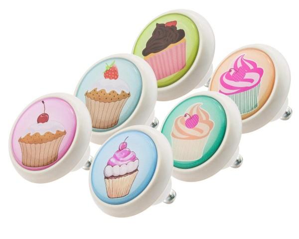 Möbelknopf Set 0023 Kinder Cup Cakes 6er Kinderzimmer KNOPF KUNST